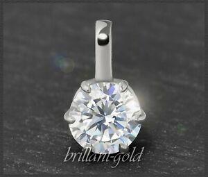 Diamant-Brillant-Damen-585-Gold-Anhaenger-1-15-ct-Top-Wesselton-F-Weissgold-NEU