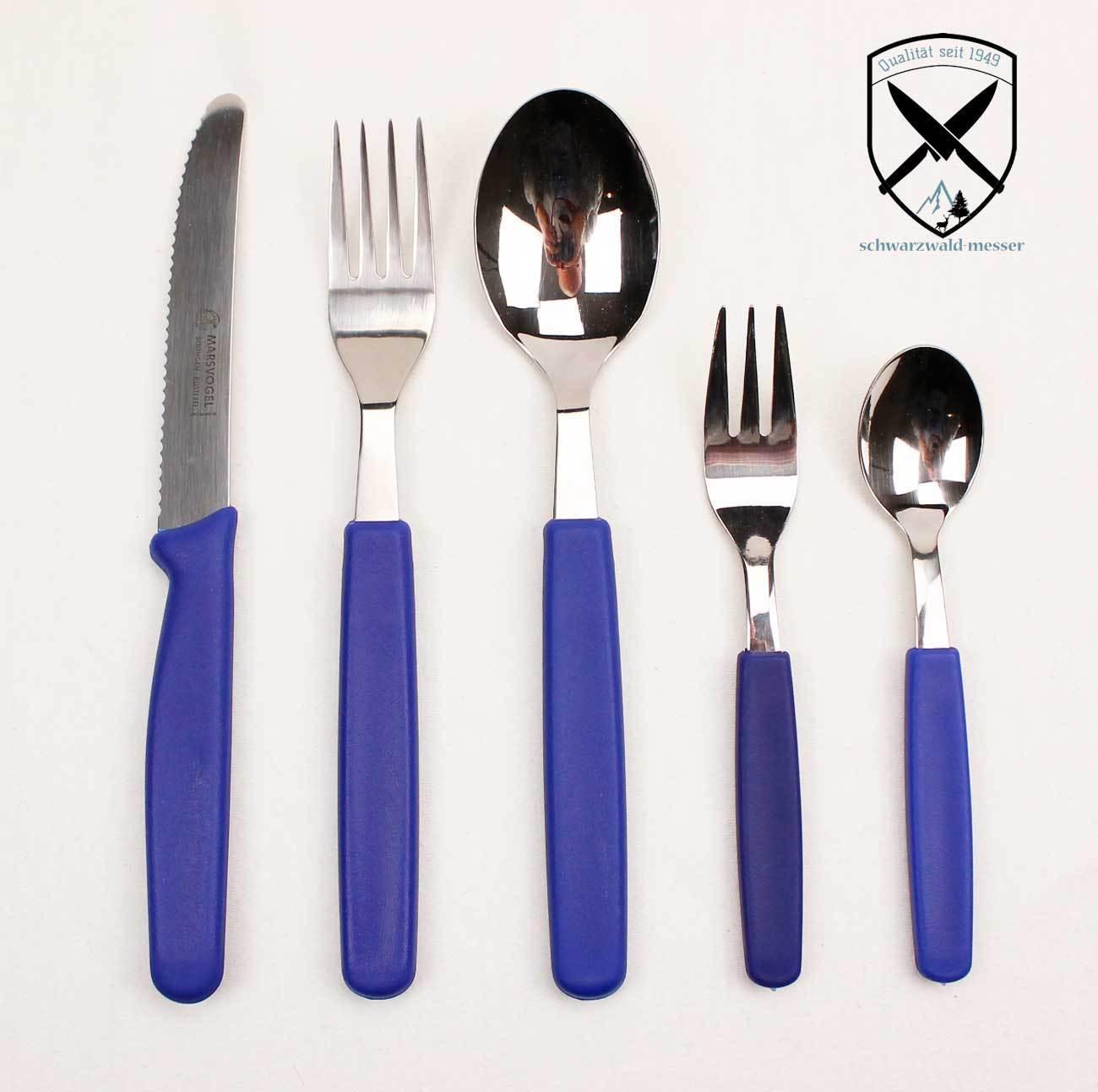 3 x 5 pièces table Couverts Lot de couverts de Solingen poignées bleu sans rouille.
