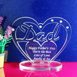 Personalised-Heart-for-Dad-with-message-Father-039-s-Day-Birthday-Gift-Ornament