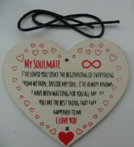 Details about MY SOULMATE I LOVE YOU WOODEN PLAQUE WITH SIGNS,HANGING GIFT