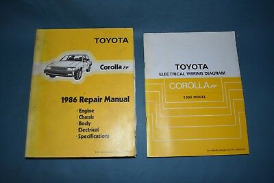 1986 Toyota Corolla Ff Service Shop Repair Manual With Wiring Diagrams Factory Ebay