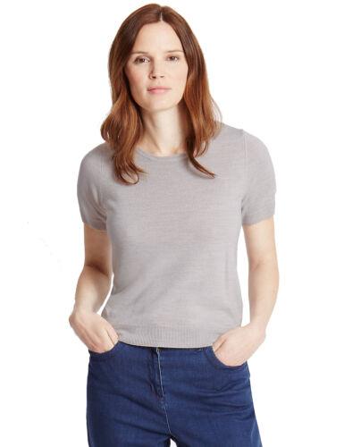 Marks /& Spencer da donna Cashmilon ™ SOFT Knit manica corta M/&S Maglione Pullover Top