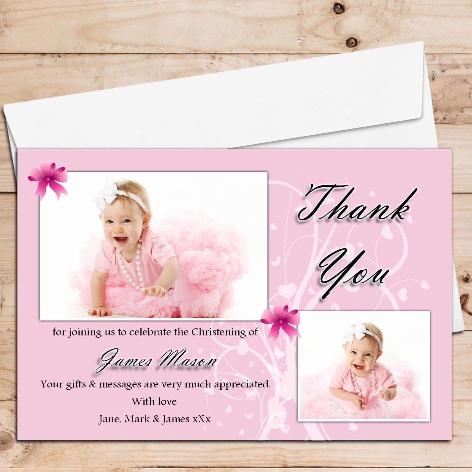 Personalised Girls Thank Christening Baptism Baby Birth Thank Girls