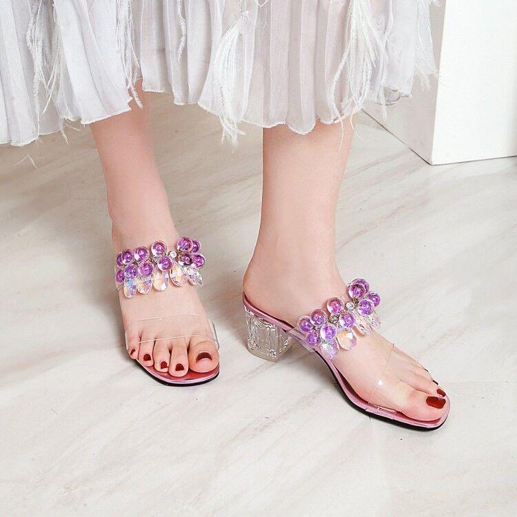 Womens Trendy Peep Toe Glitter Rhinestones Transparent Slippers Summer Sandals