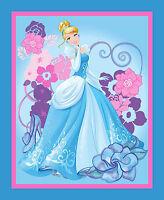 35 Fabric Panel Disney Princess Cinderella 100% Cotton Quilt Top Wallhanging