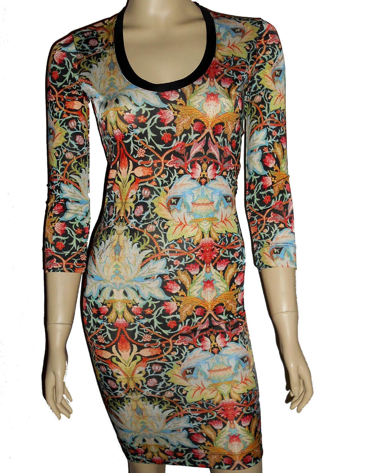 Just Cavalli 100% Viscose Robe Design Fleurs à Fleurs Boho de Luxe 32 34 S