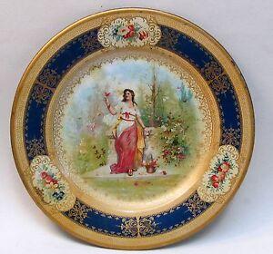 "1905 VICTORIAN BUTTERFLY LADY blue border Vienna Art Plates 10"" tin tray"