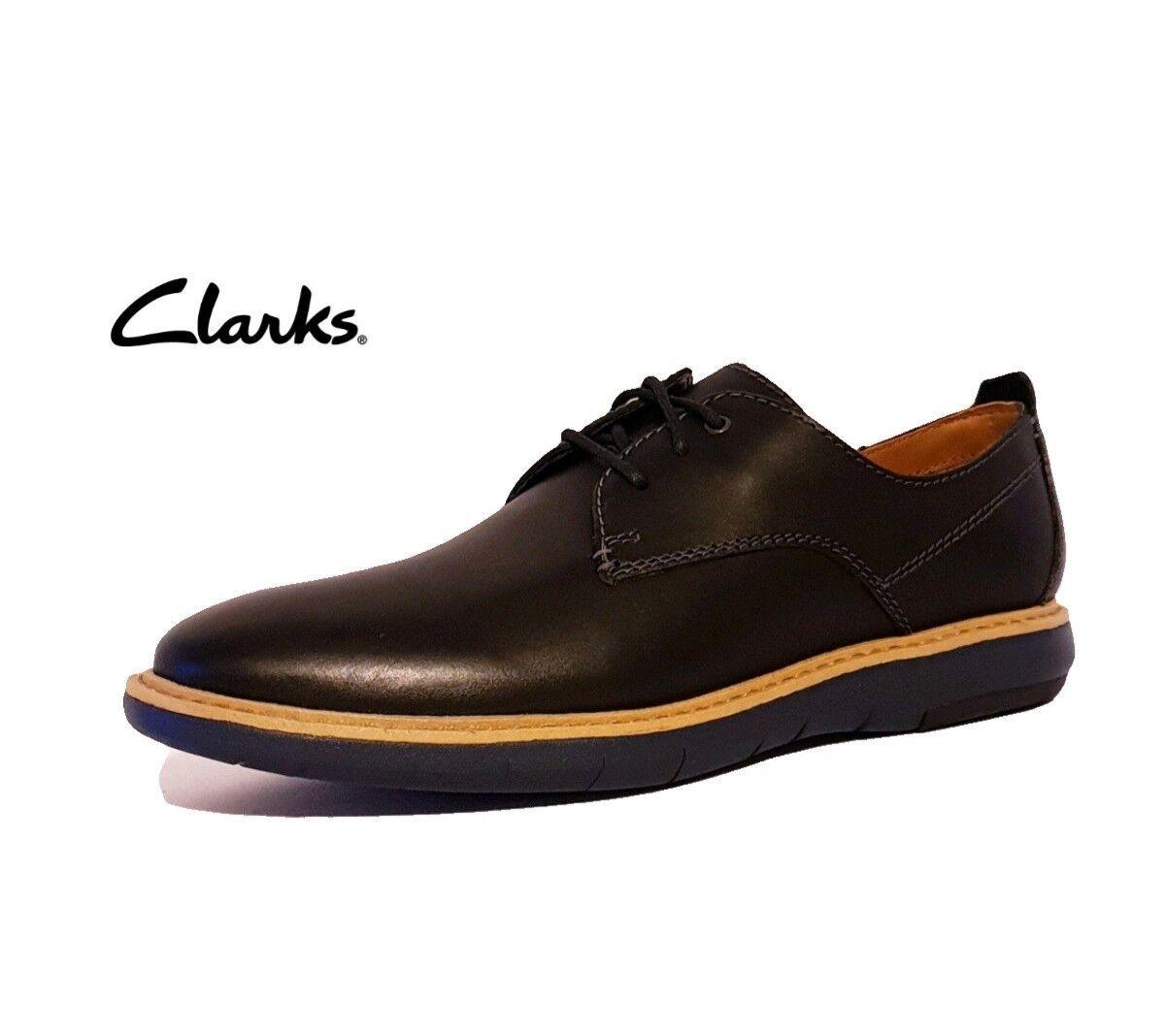CLARKS FLEXTON PLAIN BLACK GENUINE Schuhe LEATHER LACE UP CASUAL Schuhe GENUINE   Herren 758b87
