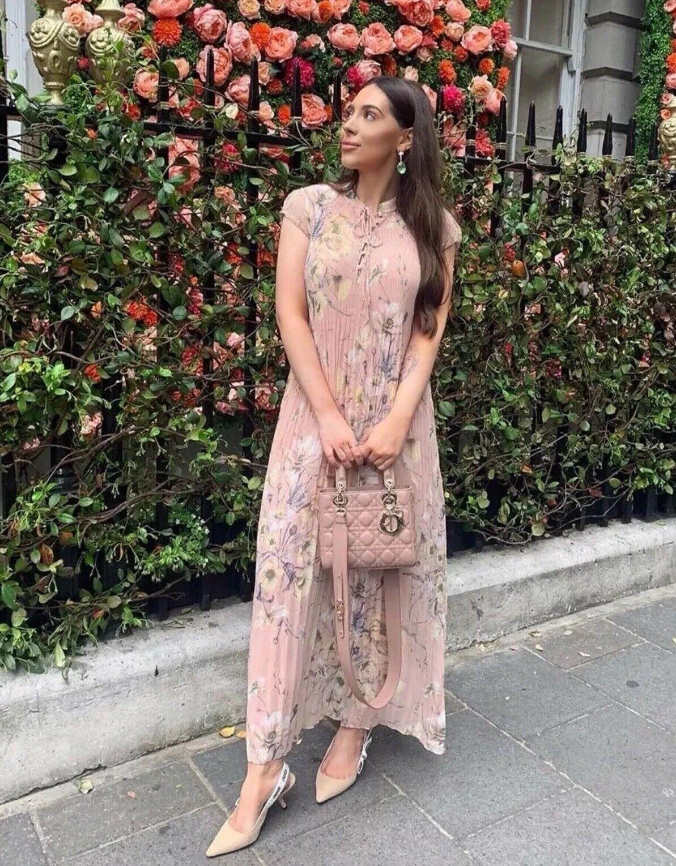 H&M Conscious Collection Floral Pleated Lange Kleid UK 14 Eu 42