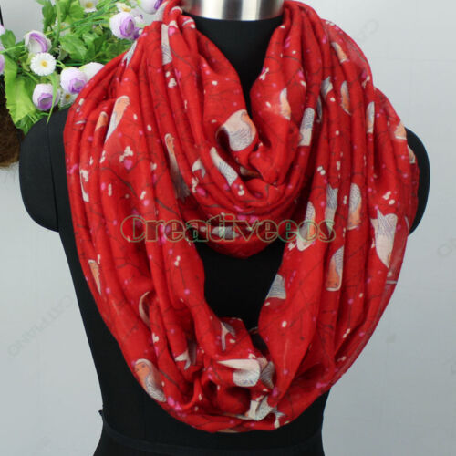 Fashion Womens Robin Birds/&Floral Print Viscose Ladies Long Shawl//Infinity Scarf
