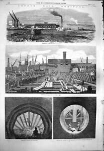 Original-Old-Antique-Print-1861-London-Drainage-Deptford-Peckham-Plaisto-19th