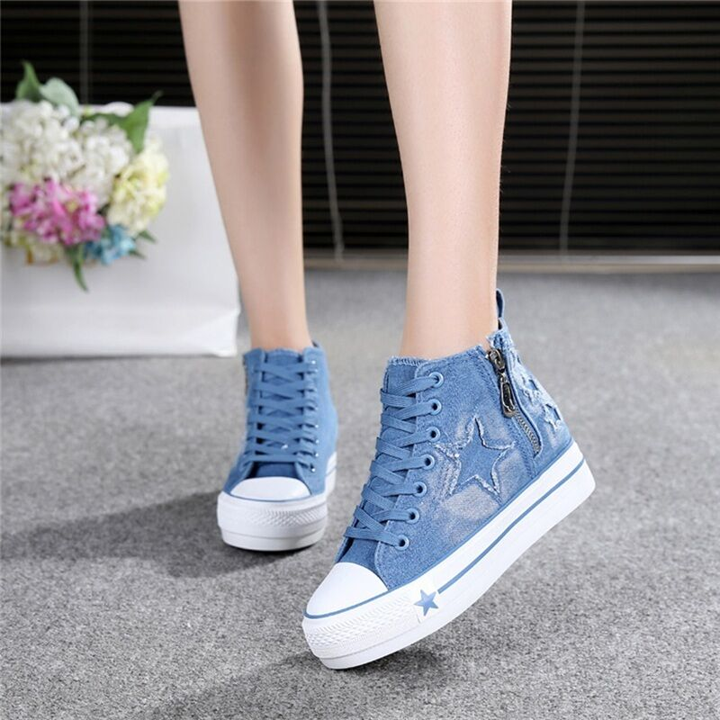 Details about Women s Casual Fashion Canvas Denim High Top Zipper Lace Up  Sneakers Board Shoes 8fc65fc62df