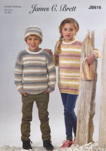 James Brett Childrens Doble Punto Tejer patrón Suéter Túnica Sombrero chimenea JB616