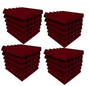 Acoustic Foam BURGUNDY Wedge Studio Soundproofing tiles 48 pack 12x12x2 inch