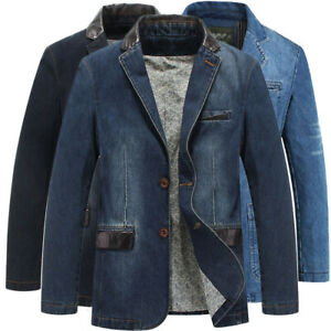 SPRING-MEN-039-S-SLIM-LEATHER-JEANS-DENIM-SUITS-JACKET-CASUAL-BLAZER-TOPS-JACKETS