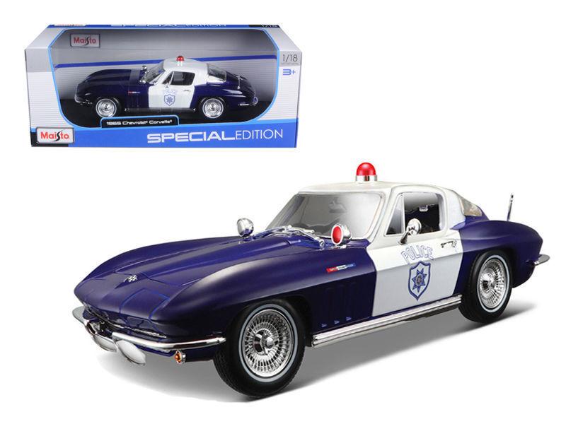 artículos de promoción Maisto Chevrolet Corvette  Policía  Año Año Año Fabricación 1965 púrpuraa blancoo, 1 18  tomamos a los clientes como nuestro dios