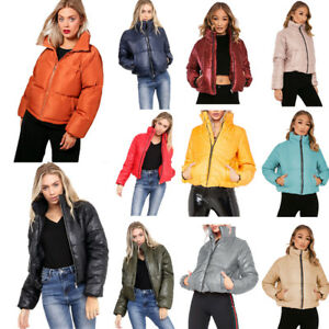 5dd0f9c0bab Image is loading Girls-Cropped-Padded-Bubble-Puffer-Wet-Look-Bomber-