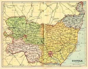 Suffolk County England Map.Map Of The County Of Suffolk England C1850 Ebay