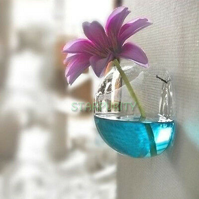 Semicircle Glass Wall Hanging Vase Water Container Home Office Wedding Decor