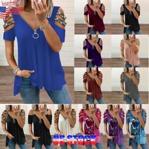 Womens Summer Cold Shoulder Zipper V Neck Tops Ladies Tee T Shirt Loose Blouse