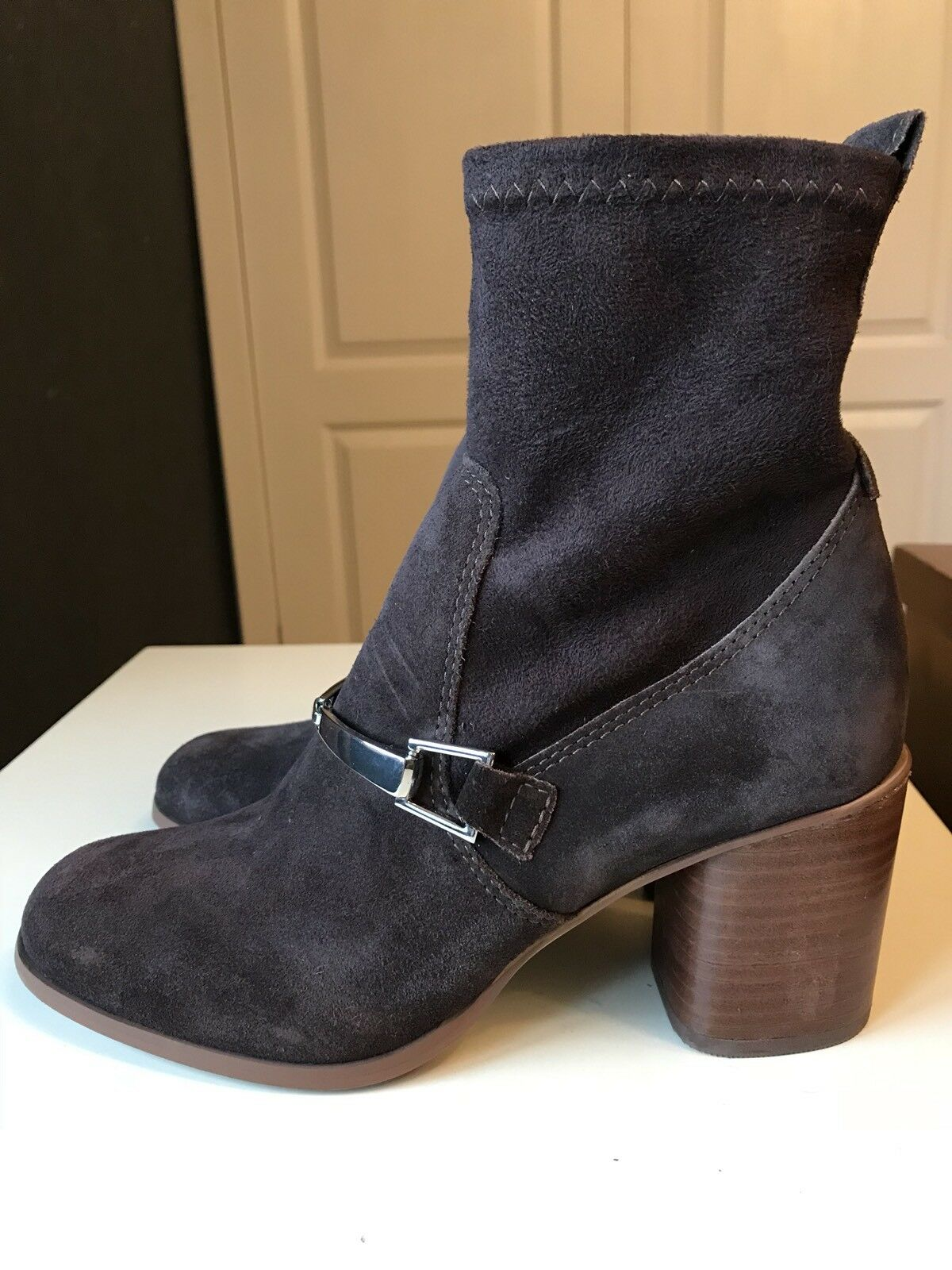 NEXT Designer Women Ladies Brown Leather Ankle High Heel Shoe Boot Size 5 38 New