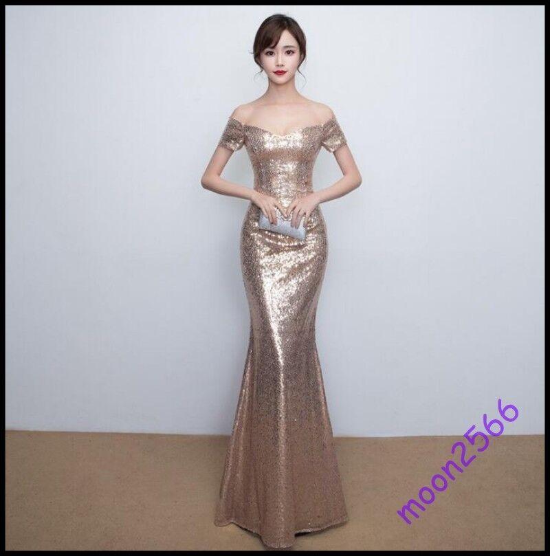 2019 New Women Full Length gold Sequins Glitter Banquet Ball Gown Fishtail Dress