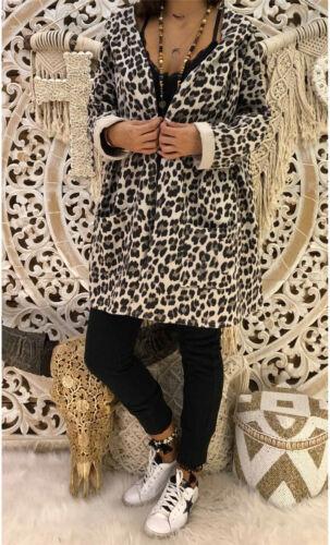 Women/'s Ladies Leopard Print Front Open Hooded Cardigan Coat Tops Hoody Jacket