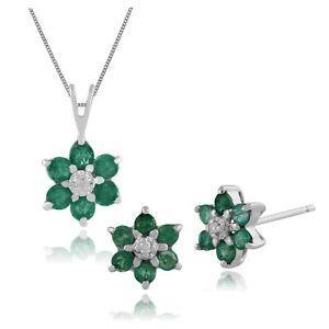 Faithful Gemondo 9 Ct Or Blanc Émeraude Et Diamant Boucles D'oreilles & 45cm Fine Jewelry Sets
