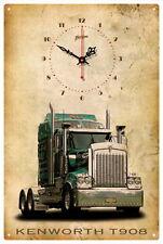 KENWORTH TRUCK T908 VINTAGE  TIN SIGN CLOCK