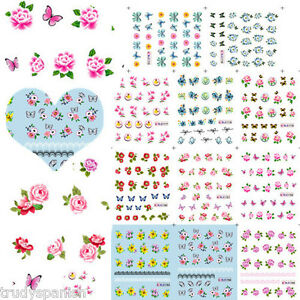 Arte-De-Unas-Stickers-Nail-Art-Agua-calcomanias-Arcos-Mariposas-aves-Encaje-Flores