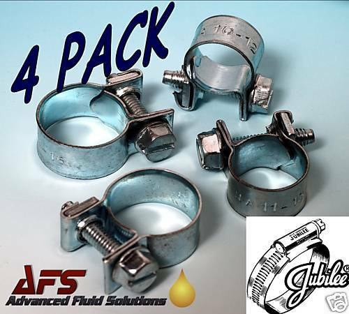 4 x 8mm - 10mm Jubilee Mini Hose Clips Clamps Nut & Bolt Air Fuel Pipe Water AFS