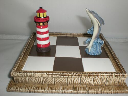 Dolphin Lighthouse Pieces Tic-Tac-Toe Nautical Tactile Fun Board Game Travel NIB