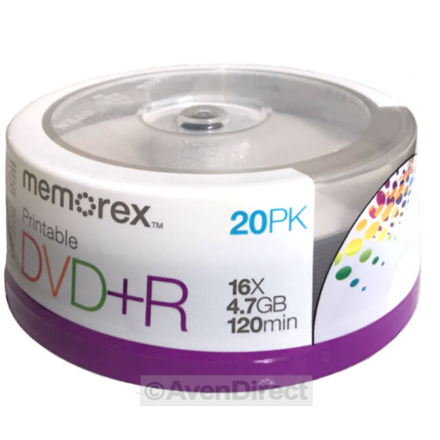 40 Memorex 16X White Inkjet Printable 4.7GB DVD+R PLUS R [FREE Priority Mail]