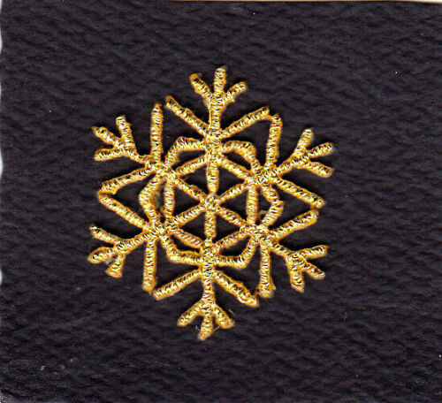 "Iron On Patch Winter Snow Christmas SNOWFLAKE GOLD METALLIC SMALL 1 1//8/"""