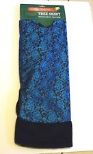 48 IN TURQUOISE & BLACK LACE WITH FAUX FUR RING TREE SKIRT CHRISTMAS DECORATION