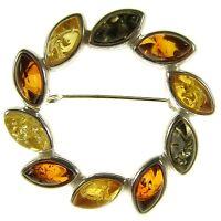 Baltic Amber Sterling Silver 925 Ladies Flower Leaf Brooch Pin Jewellery Jewelry