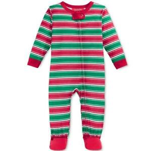 cf13d367b5 Macy s PJs Red Green Striped XMAS Toddler Kids Lightweight Footie ...