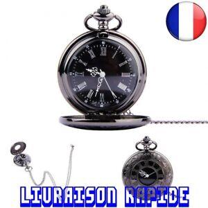 Montre-De-Poche-Vintage-Chiffres-Romains-Quartz-Horloge-Chaine-Antique-Bijoux