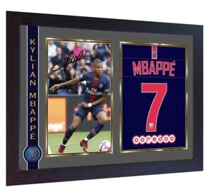 on sale 3bb0e 7d7ec Details about Kylian Mbappe autograph signed print photo MBAPPE FRAMED