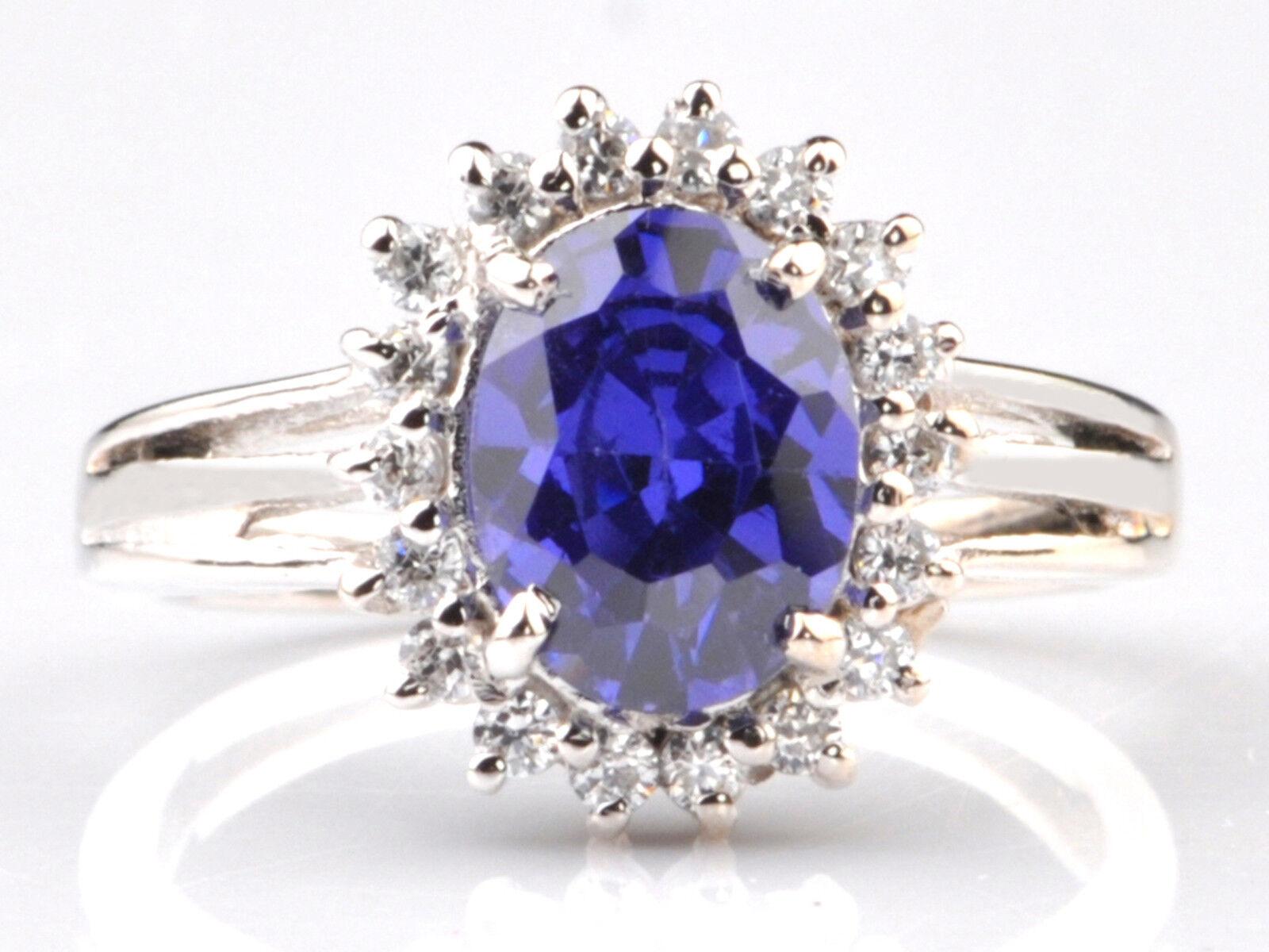 1.80 Carat Natural blueee Tanzanite EGL Certified Diamond Ring In 14KT White gold