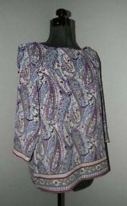 a45d9a4d J JILL ~ Paisley Print 3/4 Sleeve Tunic Top Shirt Petite L PL | eBay