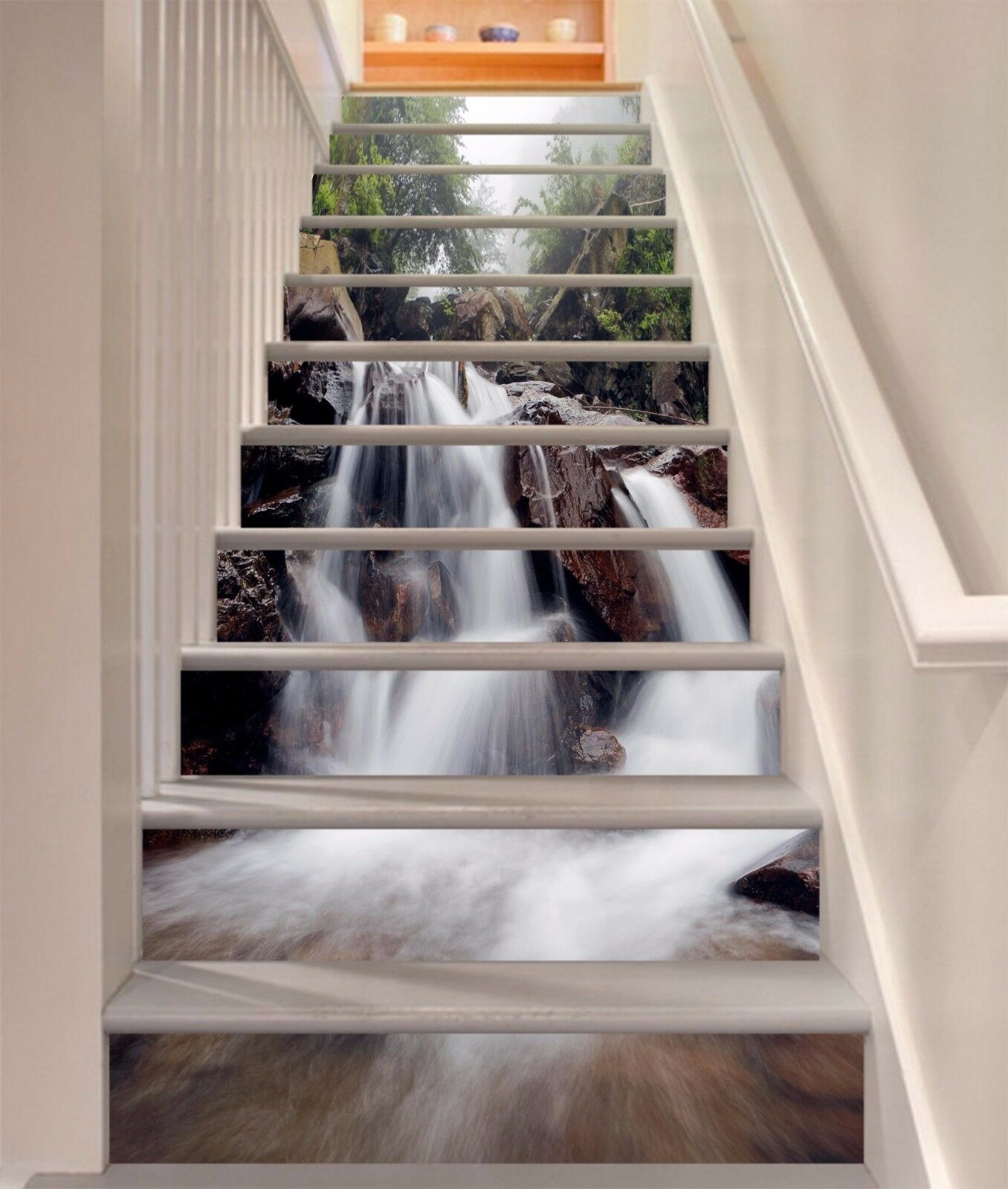 3D Torrent Stream 76Stair Risers Decoration Photo Mural Vinyl Decal Wallpaper AU