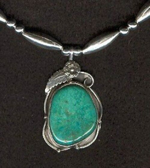 Adjustable Sterling Silver Beads and Kingman Turquoise Pendant Necklace