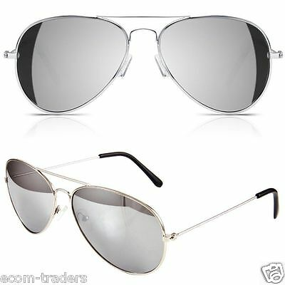 Classic Silver Mercury Lenses Aviator Sunglasses With UV400 Protection