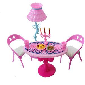 Vintage Möbel Lampe Stuhl Tisch Geschirr Essen Spielset Für Gut Ebay