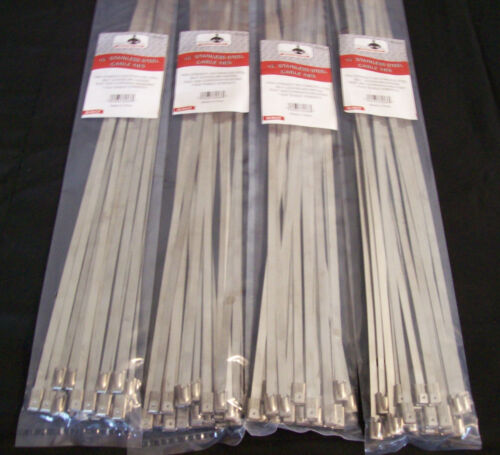 "100 GOLIATH INDUSTRIAL 15"" STAINLESS STEEL WIRE CABLE ZIP TIES STRAPS WHOLESALE"