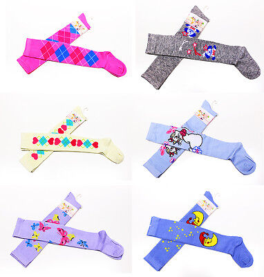 2 Pairs Long Over Knee Cotton Socks Thigh High Soft Stockings Children Girls 4-6