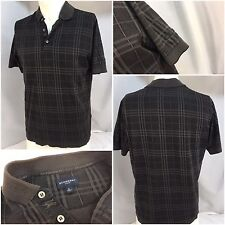 Burberry Golf Polo Shirt Small Gray Plaid 100% Cotton Made Italy EUC YGI 4137