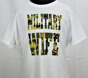 Women-039-s-Camouflage-Military-Wife-T-shirt-Ladies-Apparel-Tee-Camo-S-3XL