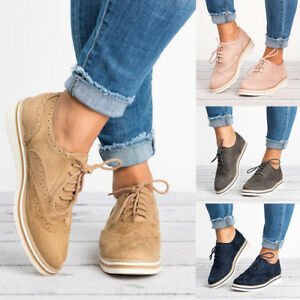 Women-Casual-Oxfords-Brogues-Lace-up-Flats-Shoes-Wing-Tip-Dress-Formal-Stitched